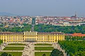 foto of schoenbrunn  - Cityscape telephoto view of Vienna from Gloriette at Schoenbrunn palace - JPG