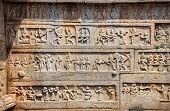picture of jain  - Ancient basrelief of hindu deities in Hazara Rama Jain Temple Hampi Karnataka India - JPG