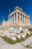 stock photo of parthenon  - The southern side of the Parthenon being restored - JPG