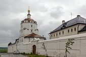 stock photo of upstream  - Holy Dormition Monastery of Sviyazhsk is a monastery for men now on the island of Sviyazhsk located at the confluence of the Volga and Sviyaga Rivers upstream from Kazan city Tatarstan Russia - JPG