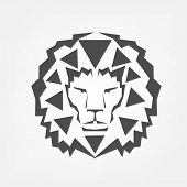 Photo of stylized lion head isolated on white background.
