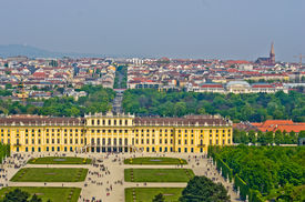 stock photo of schoenbrunn  - Cityscape telephoto view of Vienna from Gloriette at Schoenbrunn palace - JPG