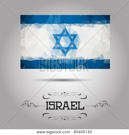 Vector geometric polygonal Israel flag.