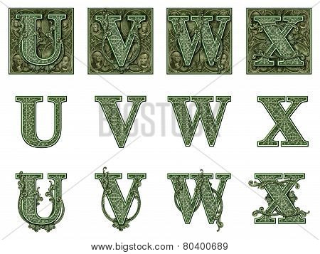 Money Alphabet U To X