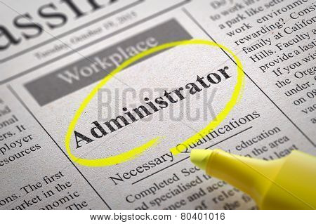 Administrator Jobs in Newspaper.