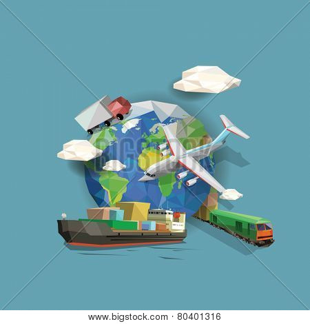 Low polygon transportation icons and planet earth. Vector illustration.