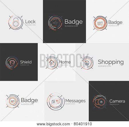 Thin line neat design logo colletion - 9 vector clean modern icons and stamps