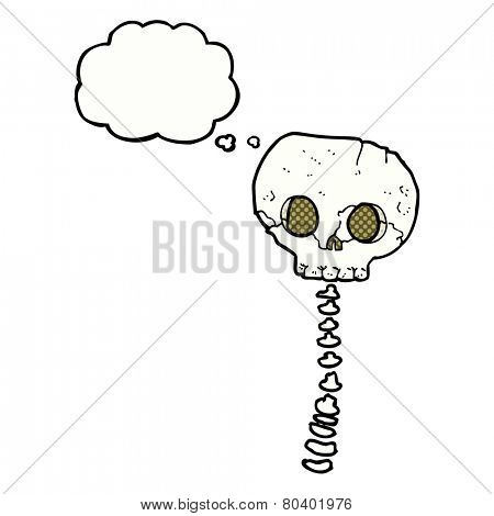 cartoon spooky skull and spine with thought bubble