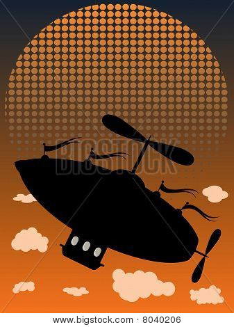 Silhouette AirShip Flying Up past clouds halftone fading sun