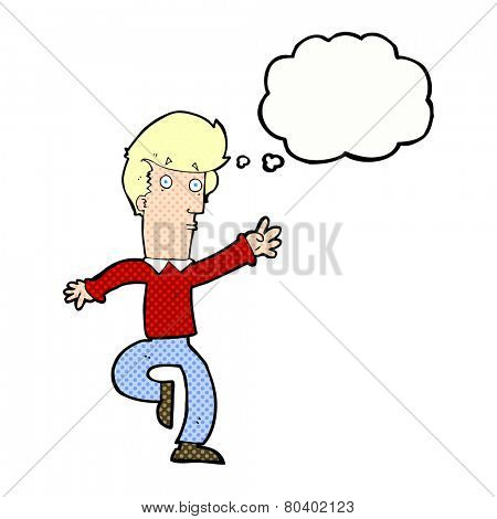 cartoon rushing man with thought bubble