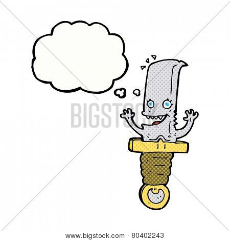 crazy cartoon knife character with thought bubble