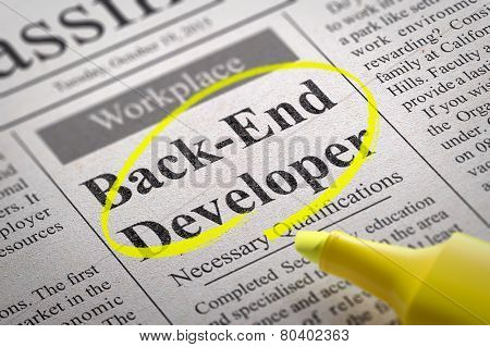 Back-End Developer Vacancy in Newspaper.