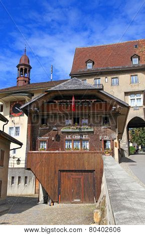 Cafe Le Chalet In The Swiss Village Gruyeres, Switzerland.