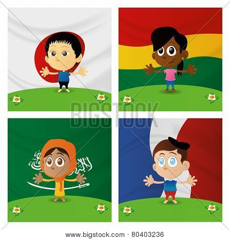 Set of happy multicultural boys and girls on flag backgrounds