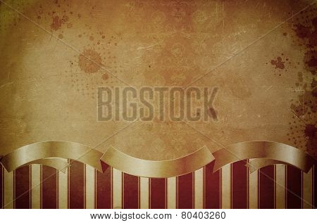 Old Grunge Paper Background With Vintage Patterns.