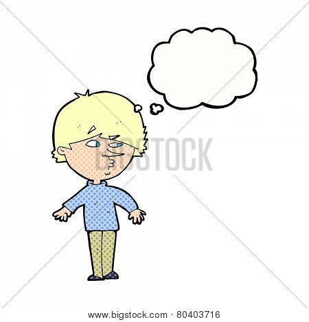 cartoon suspicious man looking over shoulder with thought bubble