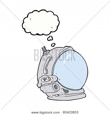 cartoon astronaut helmet with thought bubble