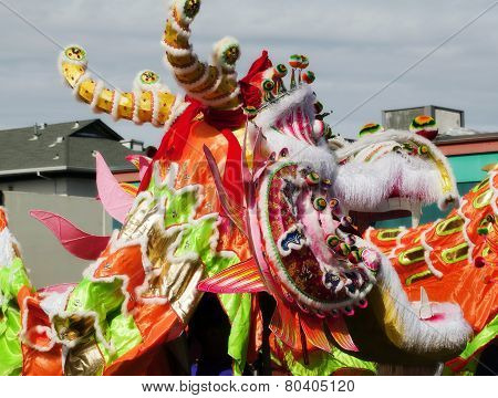 Profile Of Chinese Dragon Head Outdoors Parade