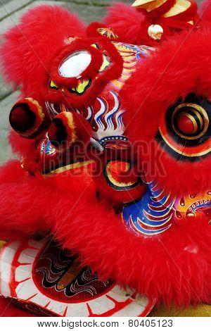 Closeup Shot Of Chinese Lion Dancing Head