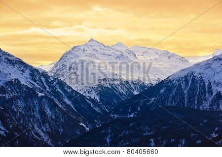 Mountains at ski resort Solden Austria - nature and sport background