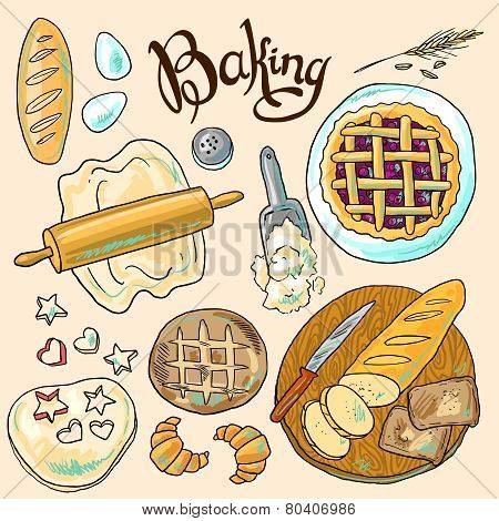 beautiful hand-draw color set of baking