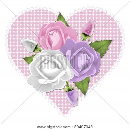 Pink Rose Heart