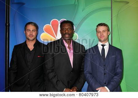 LOS ANGELES - DEC 16:  Taylor Kinney, Eamonn Walker, Jesse Spencer at the NBCUniversal TCA Press Tour at the Huntington Langham Hotel on December 16, 2015 in Pasadena, CA