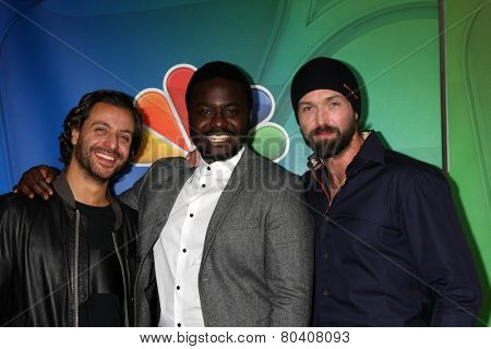 LOS ANGELES - JAN 16:  Adam Levy, Babou Ceesay, Emmett J Scanlan at the NBC TCA Winter 2015 at a The Langham Huntington Hotel on January 16, 2015 in Pasadena, CA