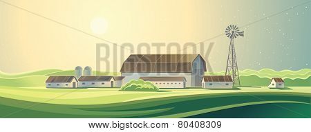 Ranch. Summer rural farm landscape.