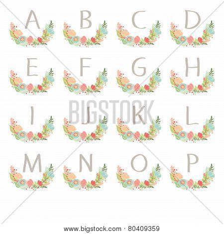 Hand Drawn Monogram Wreath Table Card A To P