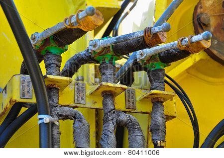 hydraulics equipment, hydraulics system in industry or hard work.