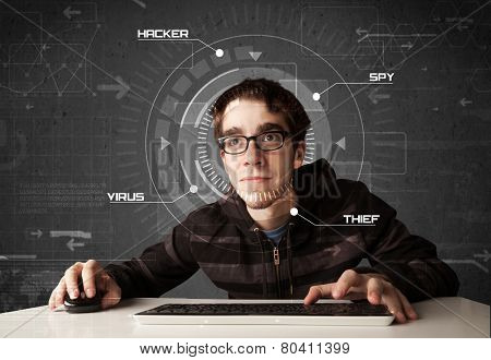 Young hacker in futuristic environment hacking personal information on tech background