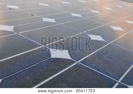 solar cell with sunlight background, Green energy or safe energy.
