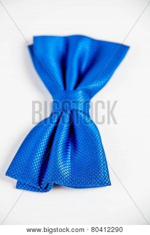 Little Boy's Blue Bow Tie. Image Isolated On White Studio Background.