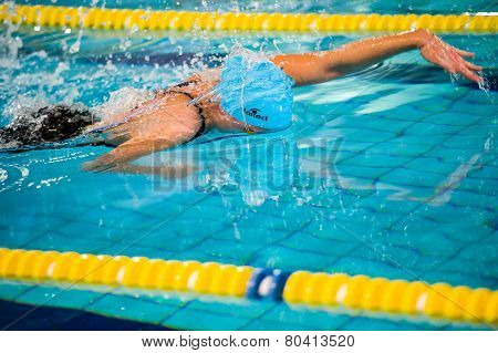 Milan - December  23:  E. Costa  (italy)  Performing Freestyle  In  Swimming Meeting Brema Cup On De