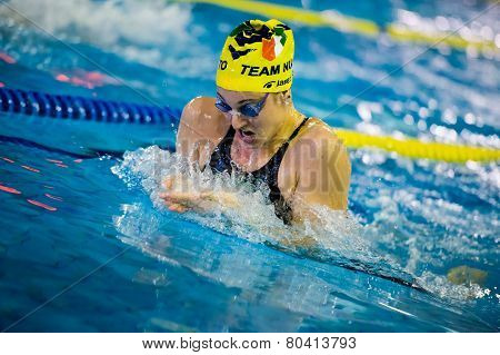 Milan - December  23:  F. Fangio  (italy)  Performing Breaststroke  In  Swimming Meeting Brema Cup O