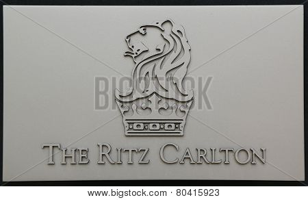 The Ritz-Carlton sign in Herzliya Marina