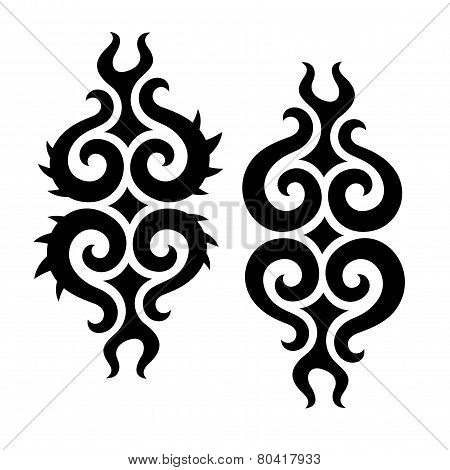 Curly tribal design elements
