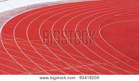 Red Running Tracks With White Lines