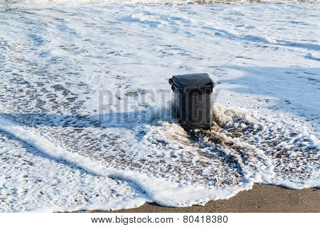 Garbage can in the tidal wave