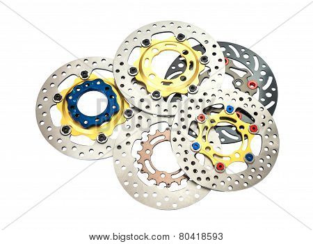 Isolated Group Of New Disc Brake For Motorcycle