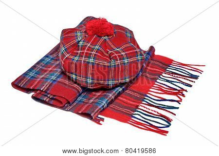Traditional Scottish Red Tartan Bonnet And Scarf