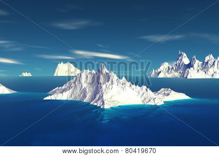 3D Rendered Fantasy Alien Planet. Iceberg