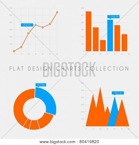 Set of vector flat design infographics statistics charts and graphs - blue and red version