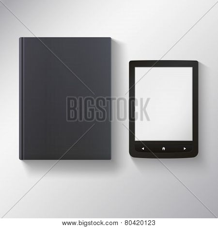 E-book with blank black book.