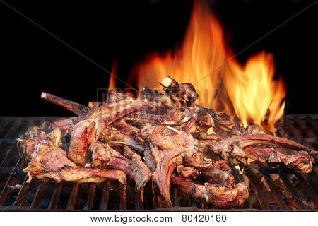 Marinated Lamb Ribs In Bbq Souse On The Hot Grill