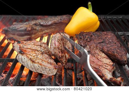 Mixed Roasted Meat On The Bbq Grill