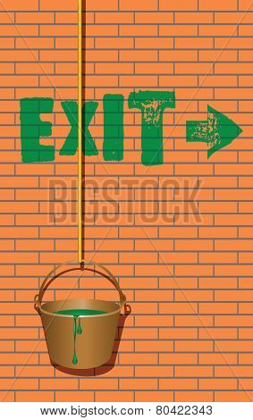 Exit Sign And A Bucket Of Paint