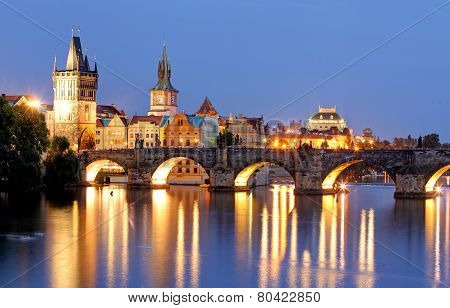 Prague Bridge At Night