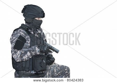 Fight against terrorism, Special Forces soldier, police swat, isolated on white